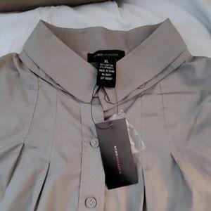 NWT BCBGMAXAZRIA Taupe Pleat Sleeve Shirt XL